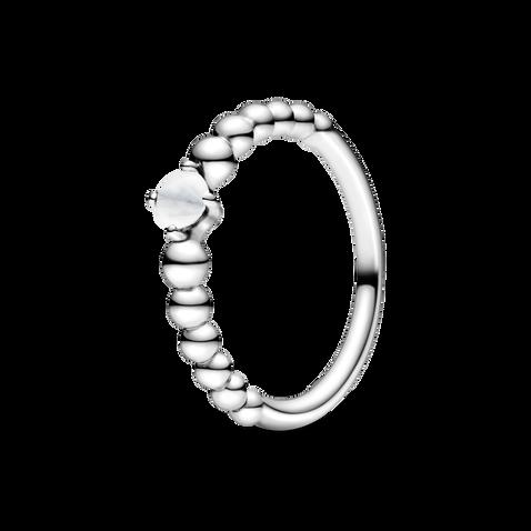 乳白寶石圓珠戒指