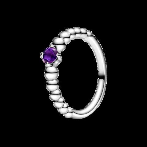 紫色寶石圓珠戒指