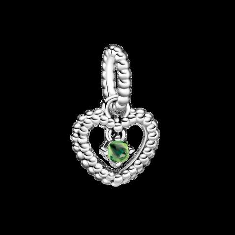 翠綠水晶圓珠心形吊飾
