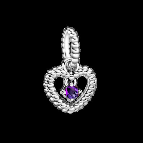 Purple Beaded Heart Dangle Charm
