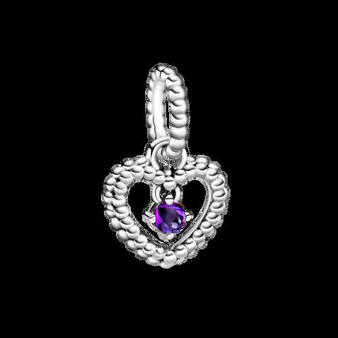紫色水晶圓珠心形吊飾