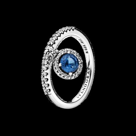 藍色璀璨掛飾戒指