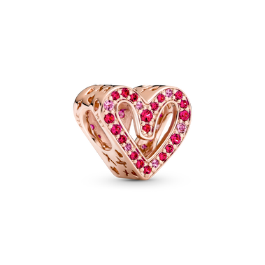 Sparkling Ruby Red & Pink Freehand Heart Charm