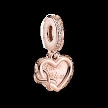 Love You Infinity Heart Dangle Charm