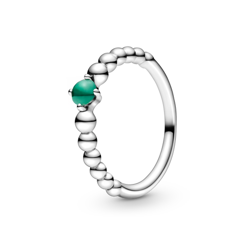雨林綠寶石圓珠戒指