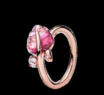 粉紅Murano琉璃葉片戒指