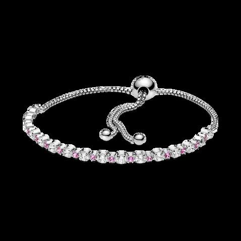 透明配粉紅璀璨滑扣手鏈