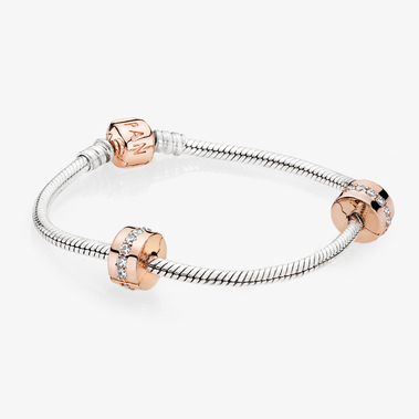 Sparkling Row Spacer Bracelet Set