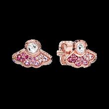粉紅摺扇針式耳環