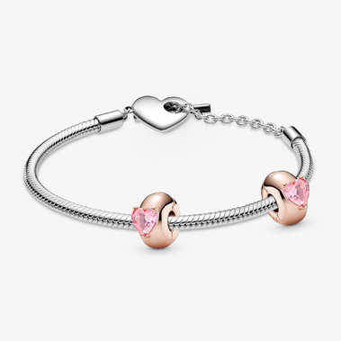 T-Bar Snake Chain Bracelet with Pink Heart Solitaire Clip Charm