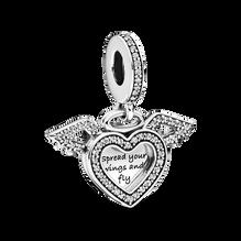 Heart and Angel Wings Dangle Charm