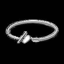 Pandora Moments 心形 T 字扣蛇形手鏈