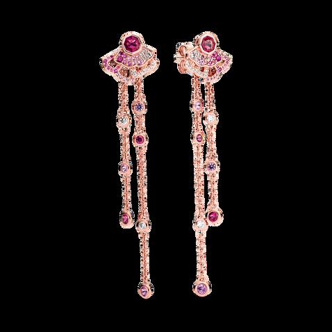 Pink Fan Dangle Earrings