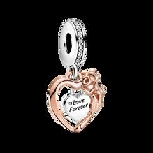 Heart & Rose Flower Dangle Charm
