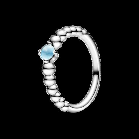 天藍寶石圓珠戒指