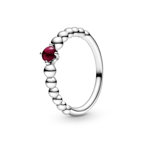 Dark Red Beaded Ring