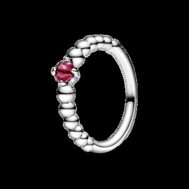 焰紅水晶圓珠戒指