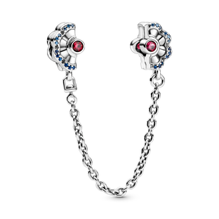 Blue & Pink Fan Safety Chain Clip Charm
