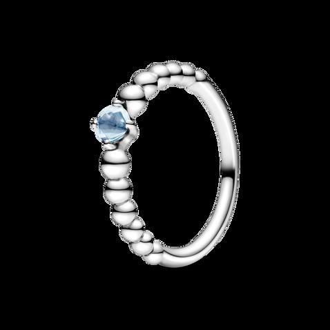 水藍寶石圓珠戒指