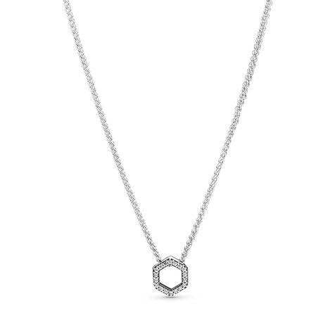 Sparkling Honeycomb Hexagon Collier Necklace