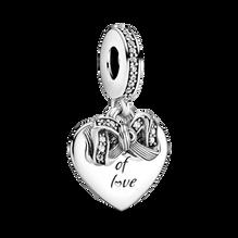 Bow & Love Heart Dangle Charm