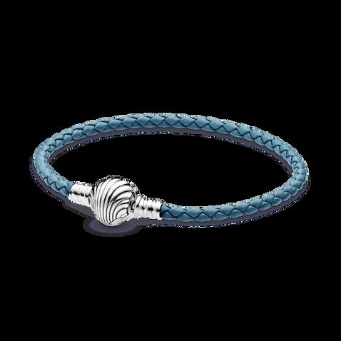 Pandora Moments 海貝飾扣綠松色織皮手繩