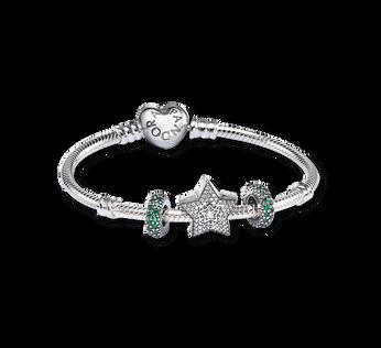 Pave Wishing Star Charm Bracelet Set