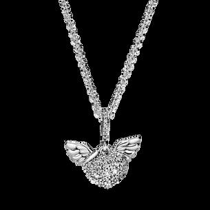 密鑲心形天使之翼項鏈