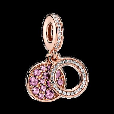 璀璨粉紅圓形雙吊飾