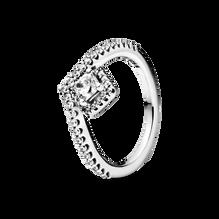 Square Sparkle Wishbone Ring