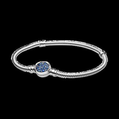 Pandora Moments 璀璨藍色圓扣蛇形手鏈