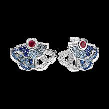 藍配粉紅摺扇針式耳環 (兩種戴法)