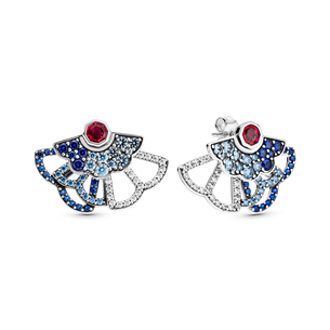 Blue & Pink Fan Statement Stud Earrings (2 Ways to Wear)
