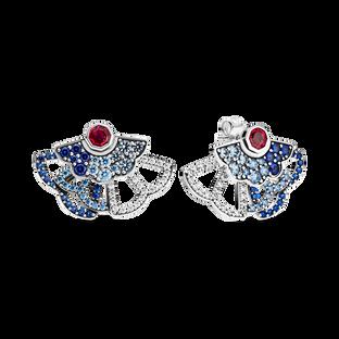 Blue & Pink Fan Statement Stud Earrings (2 Ways to Wear)