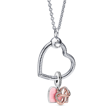 Sparkling Infinity Heart Dangle Necklace Set