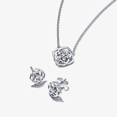 Rose Petals Necklace & Earrings Set