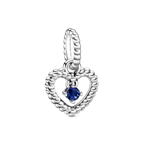 海藍水晶圓珠心形吊飾