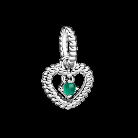 雨林綠水晶圓珠心形吊飾