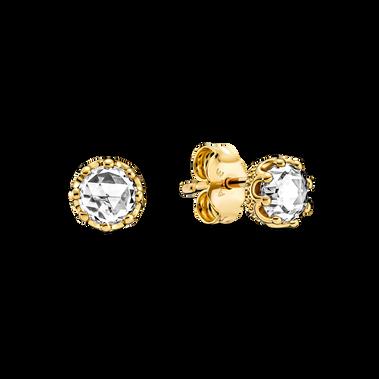 Clear Sparkling Crown Stud Earrings