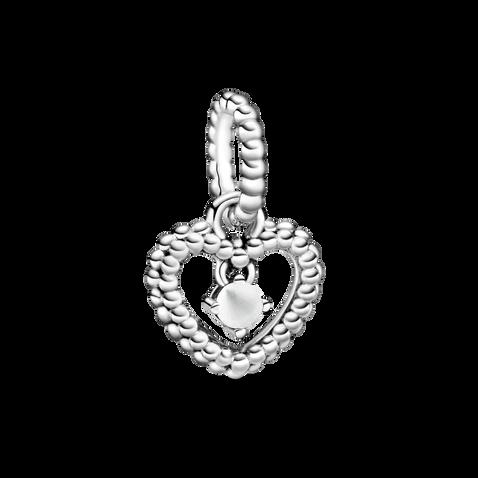 乳白水晶圓珠心形吊飾