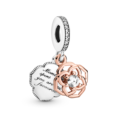 Two-tone Rose Dangle Charm