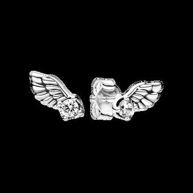 Sparkling Angel Wing Stud Earrings