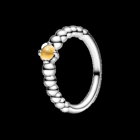 蜂蜜黃寶石圓珠戒指