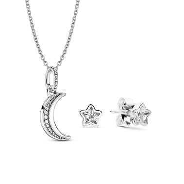 Symbols of the Night Sky Necklace and Earring Set