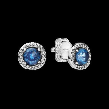 藍色璀璨之圓針式耳環
