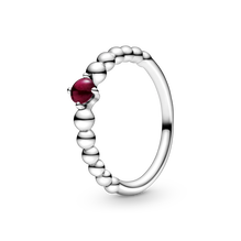 深紅水晶圓珠戒指
