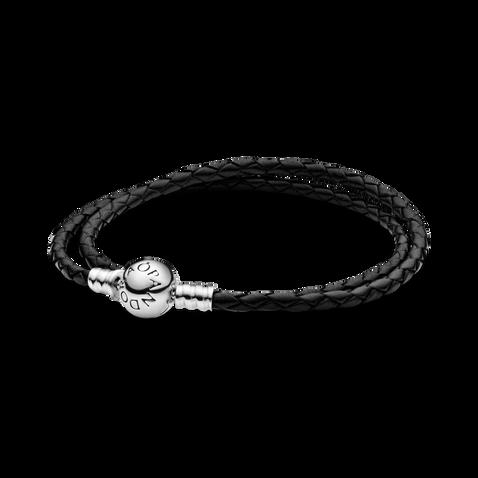Pandora Moments Double Black Leather Bracelet