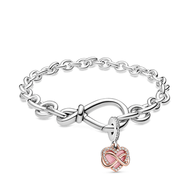 Infinity with Heart Dangle Bracelet Set