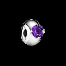 Purple Round Solitaire Clip Charm