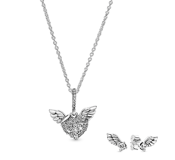 密鑲心形天使之翼項鏈及耳環套裝